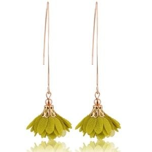 Gold & Green Flower Boho Gypsy Earrings 2.…